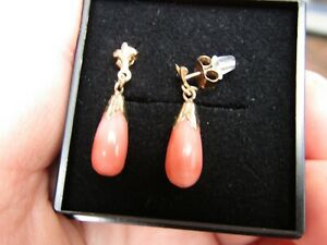 Vintage/Antique Natural Salmon Pink Coral 9 ct. Gold 375 Stud Drop Earrings