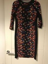M&S Collection Black Retro Black Print Stretch Bodycon Midi Dress Sz 12