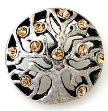 Silver Brown Rhinestone Tree of Life 20mm Charm For Ginger Snaps Magnolia Vine