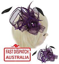 Melbourne Cup Race Feather Fascinator Comb Head Piece Deep Dark Purple Diamante