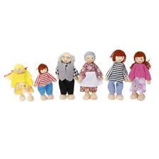 6pcs Poupée Poupon Bois Tissu Membre Famille Jouet Coloré Cadeau Enfant