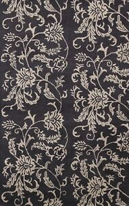 Contemporary Floral Oriental Area Rug Modern Hand-Tufted Black/ Ivory Carpet 5x8