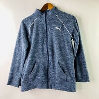 Puma Youth Sz XL 16 Fleece Jacket Full Zip Kids Medium M Sweater Top Blue