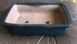 """Bonsai Pot Rectangular  Dark Blue color Large 12"""" X 8.5"""""""