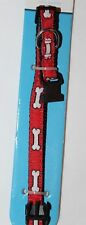 Champion Breed Stay Adjustable Dog Collar 8-12 in  Bone Pattern Red/Black BK50