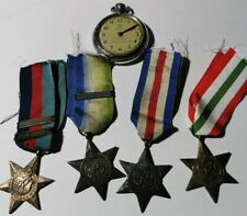 4 x British WW2 medals the Star Battle of Britain & bomber command clasp & watch