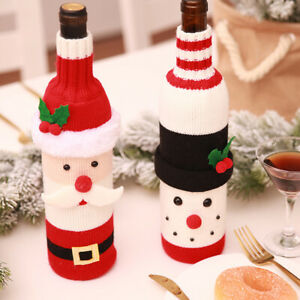 2Pcs Christmas Knitted Wine Bottle Cover Gift Bag Xmas Party Dinner Table Decor