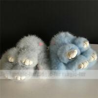 8cm 100% Real Mink Fur Rabbit Bunny Keychain Phone Bag Charm Pendant Kids Gift