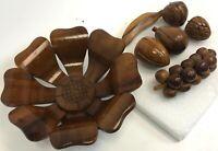 "Vintage 10"" Hand Carved Folk Art Daisy Flower Decorative Solid Wood Bowl & Fruit"