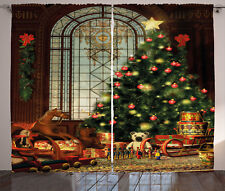 Christmas Curtains Magical Xmas Tree Window Drapes 2 Panel Set 108x84 Inches
