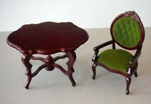 Vintage Dollhouse Miniature Victorian Style Wood Table & Chair P941