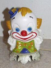 Aladdin Clown Lamp Child Nursery Bed Night Light Glass Glowing Blue Eyes Vintage