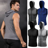Men's Athletic Hoodies Hooded Zip Up Vests Dri-fit Sleeveless Shirts Sportswear