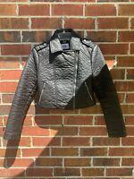 Jack BB Dakota Faux Vegan Leather Moto Jacket Black Cropped Coat size XS Small