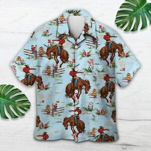 Awesome Cowboy Gift for Horse Racing Lovers Hawaiian Shirt Polyester S-5XL