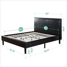 Queen Platform Bed Frame Faux Leather w Wooden Slats Headboard Footboard Sturdy