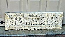 EARLY 20c TIBETIAN BUDDHIST HAND CAST FRIEZE CARVED CEREMONIAL TEMPLE WALL PANEL
