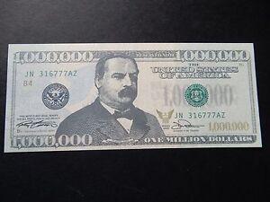$1,000,000 Banknote Bill Un Million Billet De Banque Nouveauté Dollars Américain