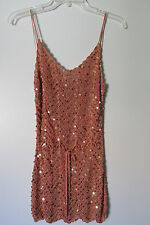 Yank Burnt Orange Sequin Strapless Crochet Knit Top w/ Cinch Tie Waist SIZE:L