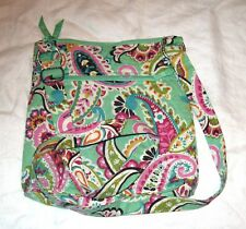 Genuine Vera Bradley Green Paisley Quilted Hipster Cross Body Bag NWOT