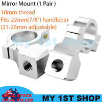 "2pcs 10mm Mirror mount holder clamp adapter universal 7/8"" 22mm handle bar alumi"