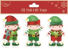 ** 12 FOIL GIFT TAGS CHRISTMAS ELF XMAS GIFT WRAPPING PRESENT VARIOUS DESIGNS **