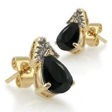 Black Sapphire Pear Shape & Diamond Real Gemstone Earrings Sterling Silver/Gold