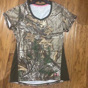 VGC Under Armour Heat gear Tech Women T Shirt Realtree M Fitted Camouflage Camo