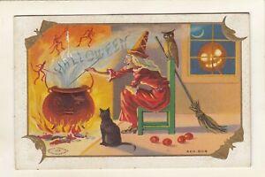 early VINTAGE EMBOSSED WITCHE - BLACK CAT--OWL-DEMONS-JOL-HALLOWEEN POSTCARD