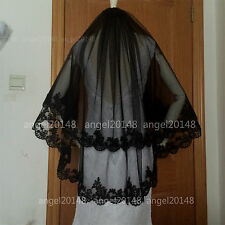 2-layers Black lace wedding bridal Veil  60cm*80cm Veil +comb