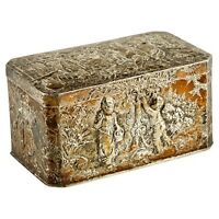 Antique German Hinged Repousse Box 800 Silver Decorated w/ Autumn Scenes 232g