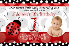 9 designs!!  LADY BUG BIRTHDAY PARTY INVITATION PHOTO 1ST CUSTOM m9 LADYBUG