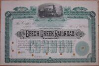 1880s Stock Certificate: 'Beech Creek Railroad Company' - Green