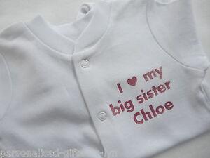 I LOVE MY BIG SISTER Personalised Babygrow - Sleepsuit