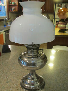 "1905 Rayo 21"" H nickel oil lamp with original burner,10"" chimney & white shade"