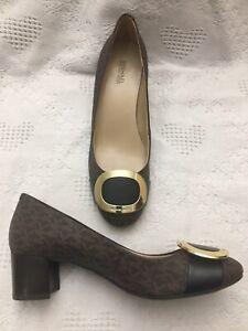 MICHAEL Michael Kors Womens Pauline Logo Brown Pumps Shoes Midi Block Heel  8 M