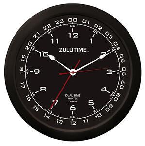 "Trintec 14"" ZuluTime Dual Time Black Clock ZT14-1 Pilots & Flight Departments"