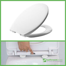 QUICK RELEASE SOFT CLOSE TOILET SEAT WHITE ROUND OVAL BATHROOM HEAVY DUTY