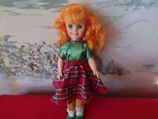 "Vintage Hard plastic doll with Bright Orange Hair-No marking 14"""