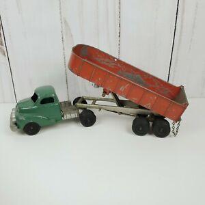 Hubley Kiddie Toy Semi Dump Truck No 508 with engine working dump tail gate