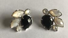 Kendra Scott Rosalie Onyx Pearl Cluster Stud Earrings Silver Rare
