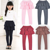 2-10 Years Girls Leggings Culottes Pants Trousers With Cake Tutu Skirts Solid UK