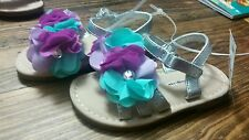 Baby girl Cherokee Purple Teal Silver summer velcro Sandals shoes size 6 New