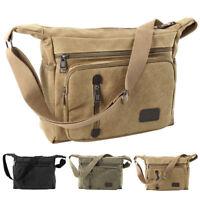 Mens Vintage Satchel School Travel Military Shoulder Sling Messenger Bag Canvas