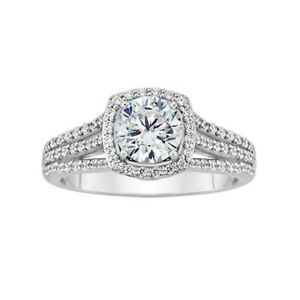 1 1/2 ct Round Cut Real D/VVS1 Diamond Engagement Ring 14K White Gold