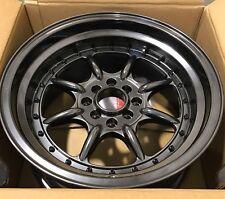 XXR Wheel 002 Chromium Black Deep Dish Step Lip 15x8 ET +0 Rim 4x100 4x114.3