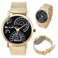 Reloj de moda, reloj de acero inoxidable de cuarzo dial velocimetro, dorado