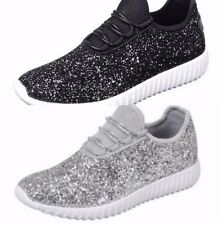 Women Size 7 Sequin Silver Sparkle Glitter Sneakers Tennis Shoes Wedding Shoes