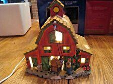 SANTA'S WORKBENCH - PORCELAIN CHRISTMAS VILLAGE ORCHARD HILL FARM - LIGHTED