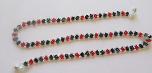 Spirit of Nature Eye Glass Holder Chain- Beads Flower- black, red wite blue